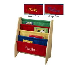 Cleverly organize your child's library with the KidKraft 4-Shelf Sling Bookshelf - Primary Colors. The sling-style canvas shelves display the front covers of books instead of the spines so it's easier for young readers to choose the perfect picture book for story time. The engaging brightly colored shelves accommodate books of almost any size and are easy for kids to use. The sturdy wide MDF frame won't tip and is the perfect height for small chi