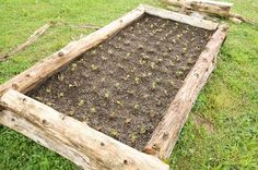Small farms: how to build a raised bed with logs.  Included using weed barrier to hold in dirt.