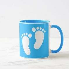 Light Blue Baby Boy Footprints Coffee Mug - diy & cyo customize