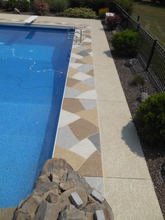 Customize the design that you want for your pool deck and enjoy a slip-free and beautiful deck.   All Concrete Resurfacing 7016 Hughes Avenue Crestwood, KY 40014 (502) 241-2040 http://www.allconcreteresurfacing.com/  #decorativeconcrete #homeimprovement #homeideas #poolideas