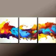 3pc Abstract Art Painting on Canvas 54x24 Original by wostudios