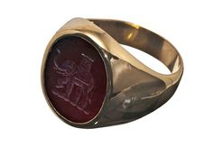 Family Crest Elephant Red Agate Gold Plated Silver Ring