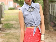 crop tied shirt striped red dotted skirt necklace sophisticated