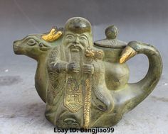 "7""Chinese Bronze Gilt Carving Longevity God Bird Head Wine Tea Pot Flagon Statue | eBay"