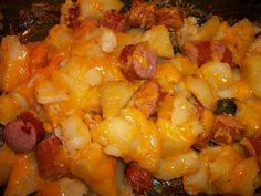 Cheesy Potatoes and Smoked Sausage:  So good, but so bad for you! I've made sausage and potatoes plenty of times but I'm not sure why it never occurred to me to add cheese. Finally did and it was yummy. Can't go wrong with cheese!