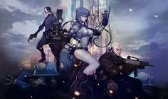 yande.re 248744 batou bodysuit ghost_in_the_shell gun kusanagi_motoko saito tachikoma.jpg (1600×950)