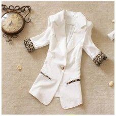 Womens Fashionable Leopard Print Hem Notched Collar Half Sleeve Chiffon Blazers