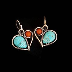 Stunning pair of wire wrapped boho heart earrings - the perfect friendship gift. I made these gemstone earrings entirely by hand, the copper ear wires are also handcrafted. For these wire earrings I used beautiful turquoise howlite briolettes and red coral gemstones - this