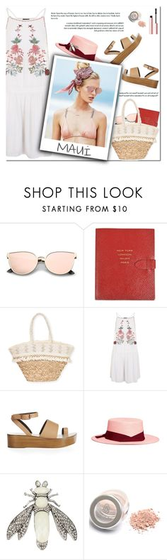 """How to Style a White Floral Dress with a Pink Hat, Straw Bag and Neutral Sandals for Travel to Hawaii this Spring"" by outfitsfortravel ❤ liked on Polyvore featuring Smythson, Sun N' Sand, Topshop, TIBI, Sensi Studio, Beach Riot, Betsey Johnson and Too Faced Cosmetics"