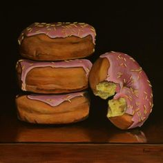 """Daily Paintworks - """"Pink Frosted Donuts with Yellow Sprinkles"""" - Original Fine Art for Sale - © Kim Testone"""