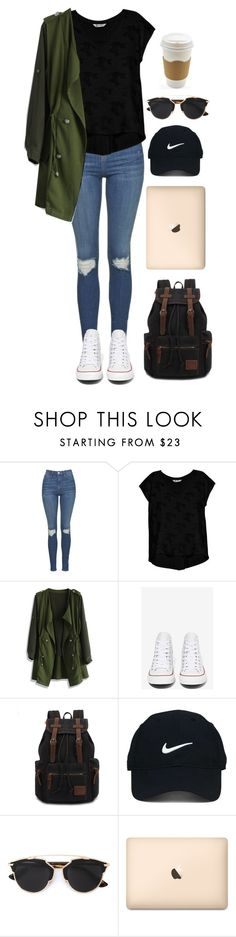 """""""✔️"""" by ari179 ❤ liked on Polyvore featuring Topshop, Bobeau, Chicwish, Converse, Nike Golf and Christian Dior"""
