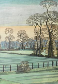 Paul Nash - Artist, Fine Art Prices, Auction Records for Paul Nash Watercolor Landscape, Landscape Art, Landscape Paintings, Tree Artwork, Art And Illustration, Illustrations, Post Impressionism, Ciel, Artist Art