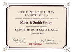 November 2012 - Team With Most Units Closed at Keller Williams Realty Louisville East | http://www.milessmithgroup.com/about/customer-testimonials/