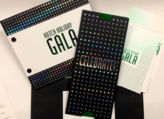 Thank you to all who attended and supported the 2016 Hutch Holiday Gala. Because of your generosity, more than $13.4 million - and counting - was raised. We collaborated with Fred Hutch (https://www.fredhutch.org/en.html) to print their Gala Invitation Package on Classic Crest Cover Epic Black, alternating Green Foil Stamping with Holographic Foil Stamping.  The invitation sleeve had die cut thumb holes for ease in slipping out the invitation.