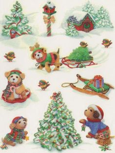 Vintage Christmas Puppies sticker sheet by Hallmark Vintage Christmas Cards, Retro Christmas, Christmas And New Year, Winter Christmas, Christmas Crafts, Christmas Ornaments, Christmas Puppy, Holly Hobbie, Love Stickers