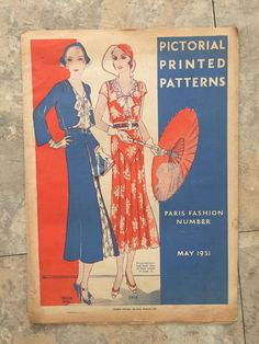 RARE VTG 1930s PICTORIAL SEWING PATTERN CATALOG PARIS FASHION MAY 1931 Unused!!