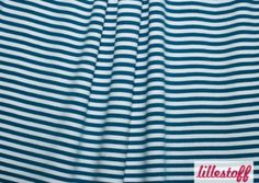 Striped Fabric – Organic Cotton Jersey Stripes indian teal-white – a unique product by toddlin-town-fabrics on DaWanda