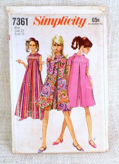 b5ea2ce55a3 Vintage 1960s Dress Pattern Simplicity 7631 A Line Tent MIni Romper Dress  Twiggy Mod Hippie Go Go Bust 32 Retro Jumpsuit Laugh-In