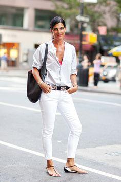 Summer Street Style: Our Last Hot Hurrah! #refinery29  http://www.refinery29.com/summer-style#slide-10  Deborah Watson, stylist; Margaret Howell men's top, Hermès belt, Céline bag, Chanel sandals, Current/Elliot pants....