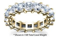 Women's Diamond Eternity Ring Princess Cut Shared Prong – Includes Appraisal / Certificate of Authenticity – ( Total Carat Weight | FG-VS Quality | 14k Yellow Gold ) Finger Size – 7.00