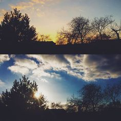 Jediné příjemné co tě příchodem domů čeká je západ slunce pak už jen další práce. #sunrise #sun #sky #clouds #tree #landscape #viewpoint