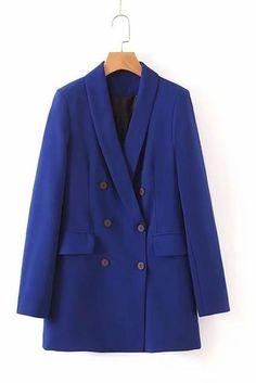 Women Pink Suit Jacket Formal Blazer 2019 Double Breasted Pocket Women Blazer Work Office Business Suit Outwear - blue jacket / M