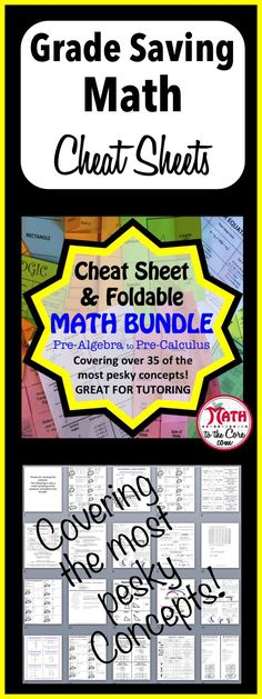 Foldable & Cheat Sheet Super Bundle for Pre-Algebra to Pre-Calculus.    This covers the most pesky concepts in math! I use all of these sheets during my home school classrooms and private tutoring.