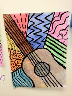 "5th grade?  Paint an instrument of choice.  Play several different styles of music and have the kids sketch, doodle, pattern with each style on separate sheet in different ""boxes"". Then create a pattern for each style from sketches and then fill in background spaces--Good idea for beginning year line lesson"