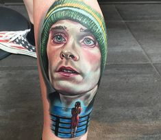 Realistic full colors tattoo portrait of Jared Leto from Requiem for a Dream by Alex Rattray Ink from Edinburgh, United Kingdom
