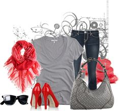 """""""Jeans in Red"""" by gl0ry on Polyvore Jeans, Polyvore, Red, Image, Fashion, Moda, La Mode, Fasion, Gin"""