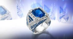 Ring in white gold set with 14 baguette-cut diamonds, 100 brilliant-cut diamonds, 232 sapphires and featuring a 10.81 carat cushion-cut Burmese sapphire.-Chaumet