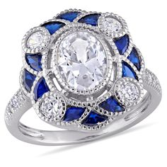 Miadora Sterling Silver Multi-Cut Blue Spinel and Cubic Zirconia Floral-Inspired Overlapping Cocktail Ring (Size 8.5), Women's, White