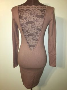 Moda International XS Beige Bodycon Dress Deep V-Back Lace Knee Length #ModaInternational #StretchBodycon #Clubwear