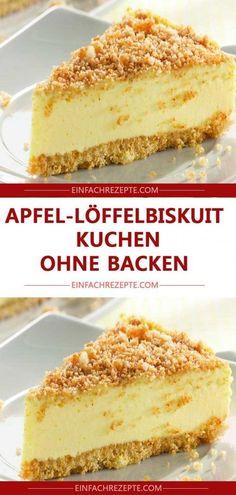 Apfel-Löffelbiskuit-Kuchen ohne Backen 😍 😍 😍