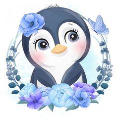 Adorable Penguins, 80 Best Free Graphics on Freepik Baby Animal Drawings, Cute Cartoon Drawings, Cute Images, Cute Pictures, Beautiful Pictures, Baby Animals, Cute Animals, Image 3d, Baby Cartoon