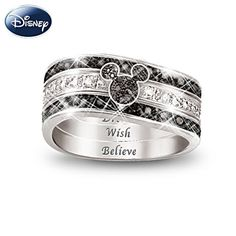 """Mickey Mouse """"Hidden Message"""" Three Band Engraved Ring. This is really sweet."""