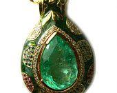 32 Ct Colombian Emerald & Colored Diamond Pendant