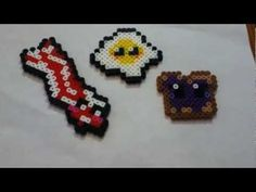 perler bead kawaii breakfast bacon eggs jelly toast