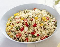Bon Appétit: Orzo with Tomatoes, Feta, and Green Onions. I subbed Orzo for Farfalle, which was awesome! Orzo Salad, Feta Salad, Soup And Salad, Rice Salad, Tortellini, Cooking Recipes, Healthy Recipes, Healthy Snacks, Weeknight Recipes
