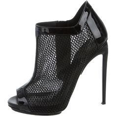 Pre-owned Giuseppe Zanotti Peep-Toe Mesh Booties ($295) ❤ liked on Polyvore featuring shoes, boots, ankle booties, black, black stilettos, black boots, black stiletto booties, black stiletto boots and peep-toe boots