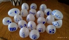 Good for finding partners - Easter eggs with two types of showing fractions, or the equivalent decimal written on it.