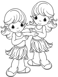 Beach party luau hula girls precious moments coloring page