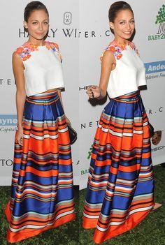 Nicole Richie in Alberta Ferretti Circle Ring Stripe Maxi Skirt