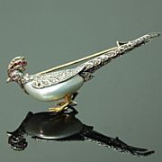 Antique French Bird Brooch Ruby Diamond Blister Pearl Victorian Jewelry ref.13354-0011