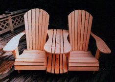 Adirondack Chair & Settee Muskoka Chair & Settee                           As a compliment to the Full Size Adirondack Chair, I have designed a Settee Kit to join 2 chairs together. This can be accomplished by building two new chairs from scratch, or joining 2 chairs that are already assembled. Simply remove the adjacent inside arms, join the chairs with 4 boards, then cut out the parts from the templates. After assembly, you will have a comfortable settee, with an extra wide center arm, and