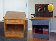 Turn an old bedside table into a kids tool bench! This will go with the real tool sets santa got the boys from bunnings Repurposed Furniture, Kids Furniture, Kids Tool Bench, Boy Room, Kids Room, Kids Workbench, Diy Bench, Diy Toys, Furniture Makeover