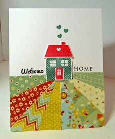 CASE for Holiday Home - Cards-by-the-Sea: Retro Sketches and Make it Monday Welcome Home Cards, New Home Cards, Scrapbooking, Scrapbook Cards, Cool Cards, Diy Cards, Round Robin, Patchwork Cards, Housewarming Card
