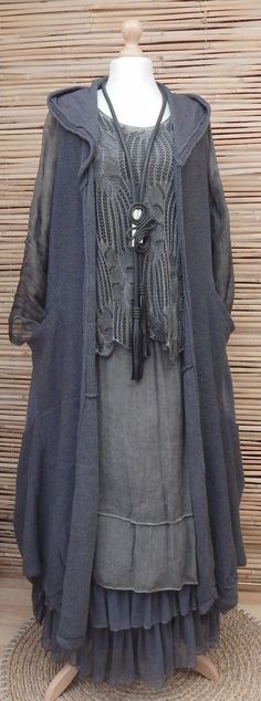 LAGENLOOK BEAUTIFUL 3 PCS DRESS+CARDIGAN+PETTICOAT*ANTHRACITE* BUST UP TO 46""