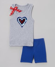 Loving this Gray Heart Tank & Royal Blue Shorts - Infant, Toddler & Girls on #zulily! #zulilyfinds