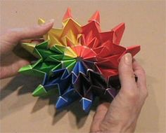 Fireworks model ... This is a great unit origami to do with Middle School kids ... 12 units required that are simple to fold ... Most difficult part is joining the ends, but well worth it!!!